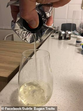 Many said drinking wine from a bag (pictured) is the ultimate in bogan habits