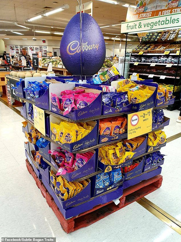 Aussies have listed the food, decorations and habits that are deemed 'bogan' ahead of the Easter long weekend, including buying your Easter eggs on January 1 (pictured)